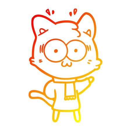 warm gradient line drawing of a cartoon surprised cat wearing warm winter clothes