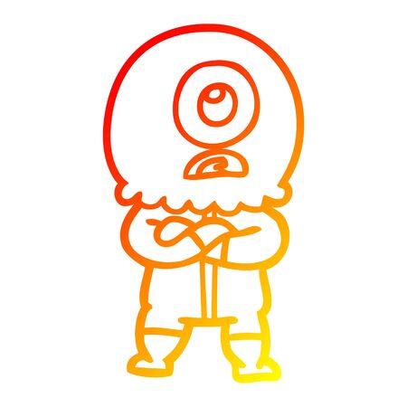 warm gradient line drawing of a annoyed cartoon cyclops alien spaceman