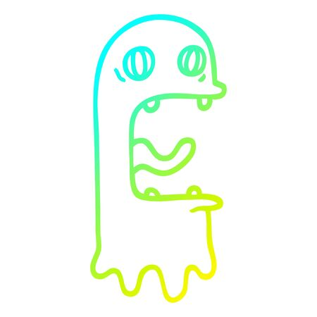 cold gradient line drawing of a cartoon spooky ghost Illustration