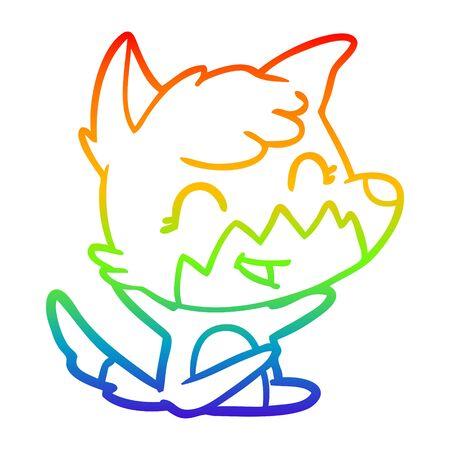 rainbow gradient line drawing of a happy cartoon fox Standard-Bild - 130516953
