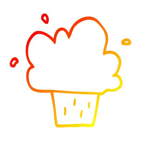 warm gradient line drawing of a cartoon cupcake Illustration