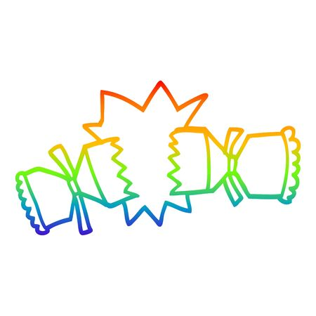 rainbow gradient line drawing of a cartoon exploding cracker