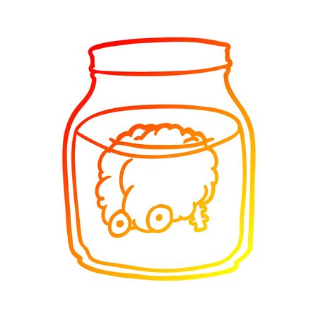 warm gradient line drawing of a spooky brain floating in jar