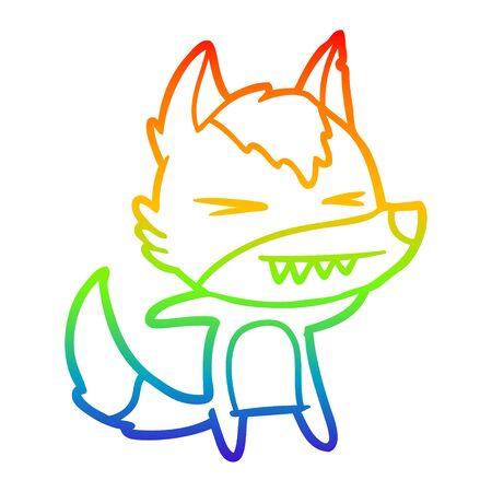 rainbow gradient line drawing of a angry wolf cartoon Standard-Bild - 130516809