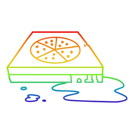 rainbow gradient line drawing of a cartoon greasy pizza
