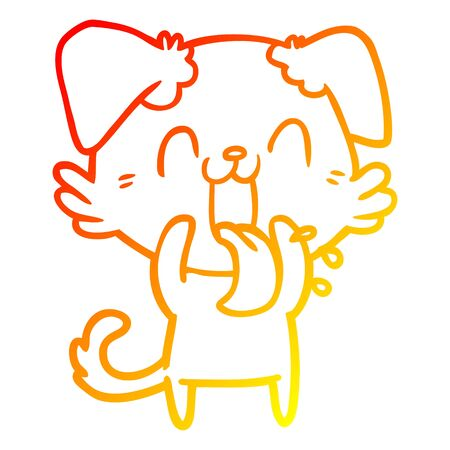 warm gradient line drawing of a cartoon panting dog Standard-Bild - 130517012