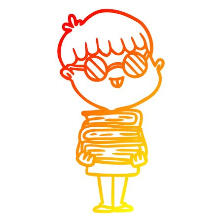 warm gradient line drawing of a cartoon nerd boy with spectacles and book Ilustração