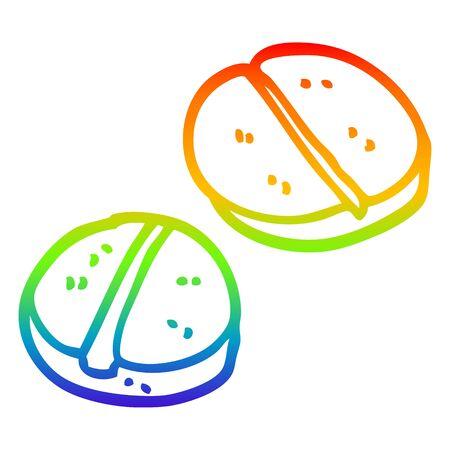 rainbow gradient line drawing of a cartoon tablets  イラスト・ベクター素材