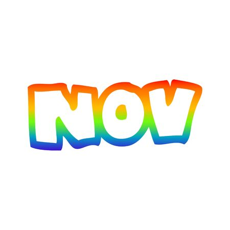 rainbow gradient line drawing of a cartoon month of november Ilustrace