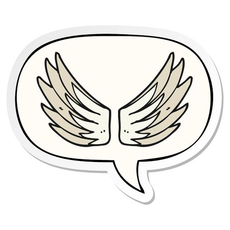 cartoon wings symbol with speech bubble sticker