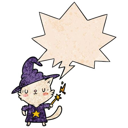 magical amazing cartoon cat wizard with speech bubble in retro texture style