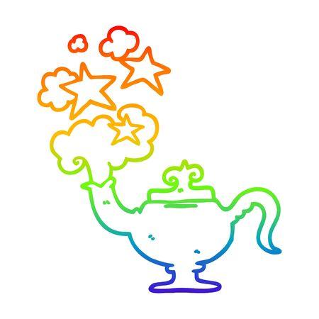 rainbow gradient line drawing of a cartoon magic lamp