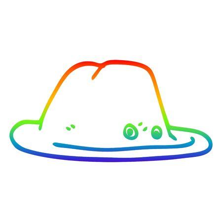 rainbow gradient line drawing of a cartoon hat Stock Illustratie