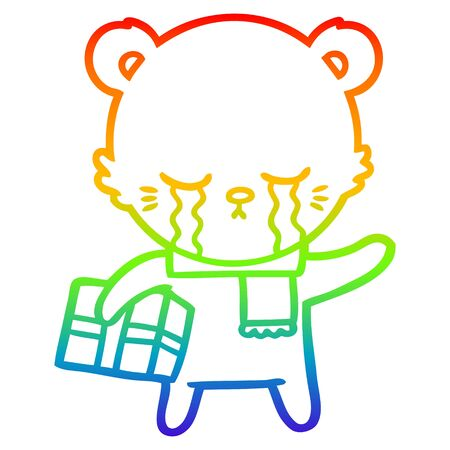 rainbow gradient line drawing of a crying cartoon bear with present