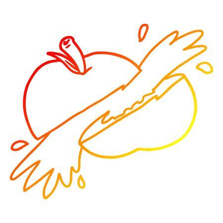 warm gradient line drawing of a cartoon sliced apple