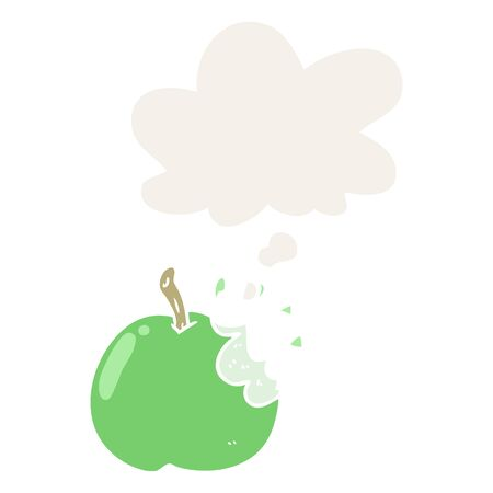 cartoon bitten apple with thought bubble in retro style 일러스트