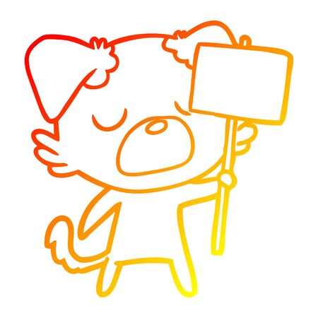 warm gradient line drawing of a cartoon dog Standard-Bild - 130517158
