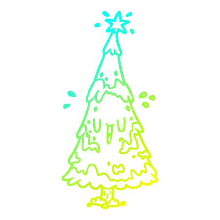 cold gradient line drawing of a snowy christmas tree with happy face Иллюстрация