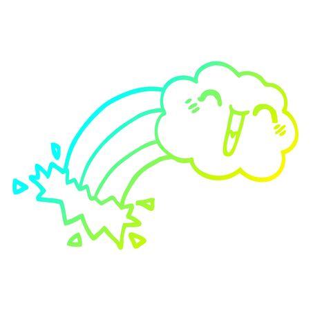 cold gradient line drawing of a cartoon rainbow rain cloud