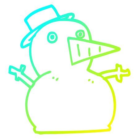 cold gradient line drawing of a cartoon funny snowman Illustration