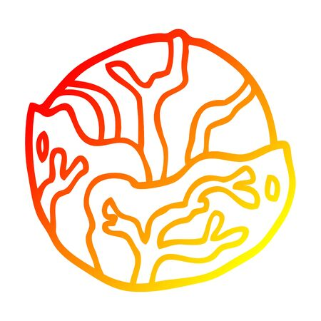 warm gradient line drawing of a cartoon cabbage
