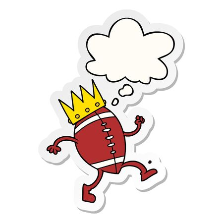 football with crown cartoon  with thought bubble as a printed sticker Stock Illustratie