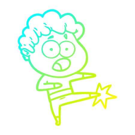 cold gradient line drawing of a cartoon man gasping in surprise
