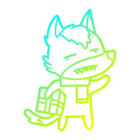 cold gradient line drawing of a cartoon wolf with a gift Standard-Bild - 130517105