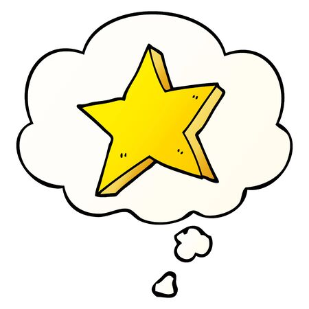 cartoon star with thought bubble in smooth gradient style Ilustração