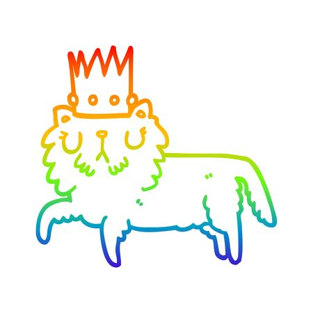 rainbow gradient line drawing of a cartoon cat wearing crown  イラスト・ベクター素材