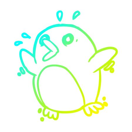 cold gradient line drawing of a frightened penguin