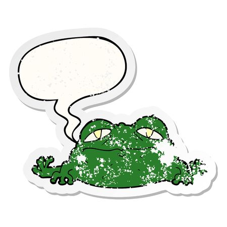 cartoon ugly frog with speech bubble distressed distressed old sticker Ilustração