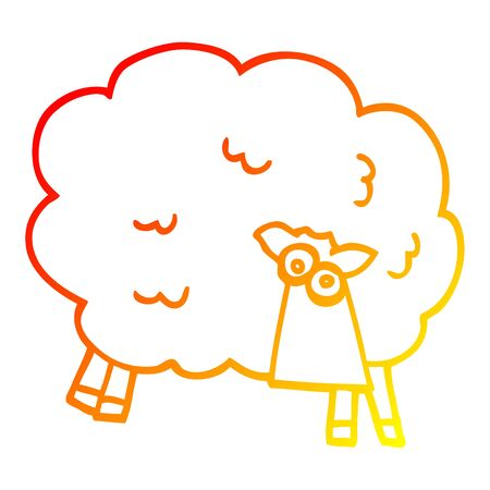 warm gradient line drawing of a cartoon black sheep