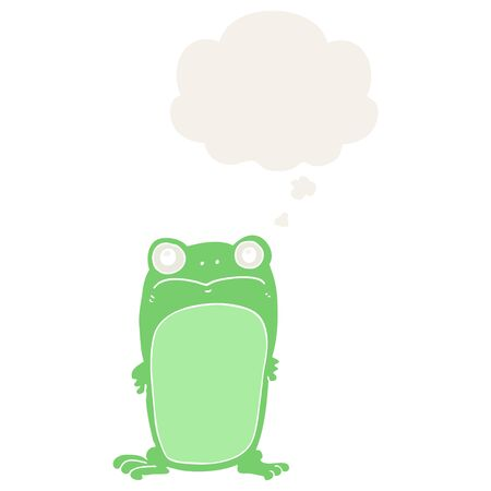cartoon staring frog with thought bubble in retro style