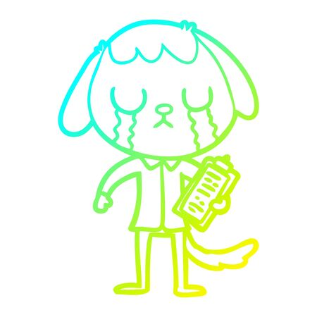 cold gradient line drawing of a cute cartoon dog crying Standard-Bild - 130517235