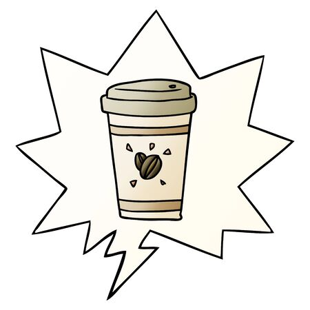 cartoon cup of takeout coffee with speech bubble in smooth gradient style