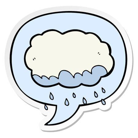 cartoon rain cloud with speech bubble sticker Illustration