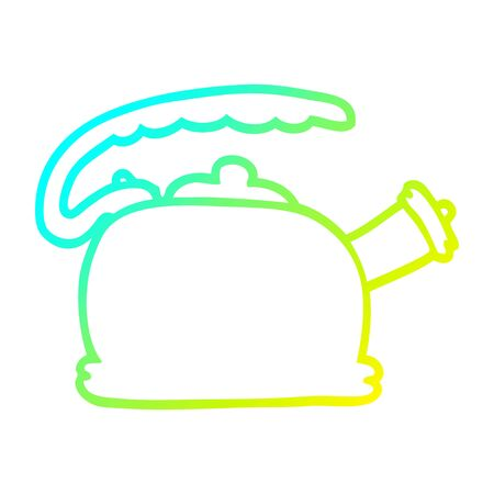 cold gradient line drawing of a cartoon whistling kettle