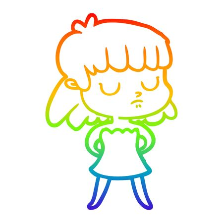 rainbow gradient line drawing of a cartoon indifferent woman  イラスト・ベクター素材