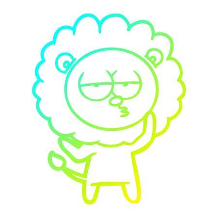 cold gradient line drawing of a cartoon tired lion Ilustração