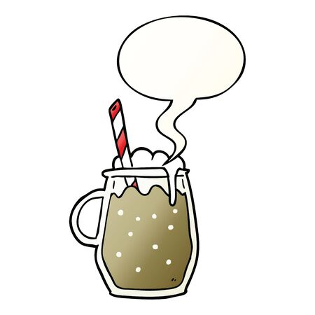 cartoon glass of root beer with straw with speech bubble in smooth gradient style