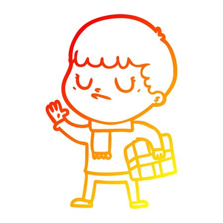 warm gradient line drawing of a cartoon grumpy boy