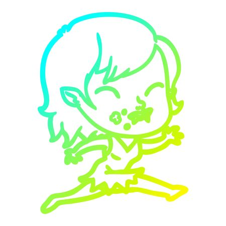 cold gradient line drawing of a cartoon vampire girl with blood on cheek