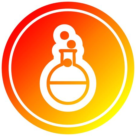 science experiment circular icon with warm gradient finish Çizim