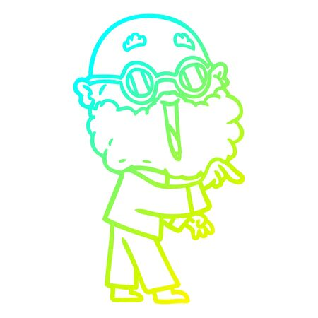 cold gradient line drawing of a cartoon joyful man with beard pointing finger