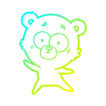 cold gradient line drawing of a anxious bear cartoon Ilustrace