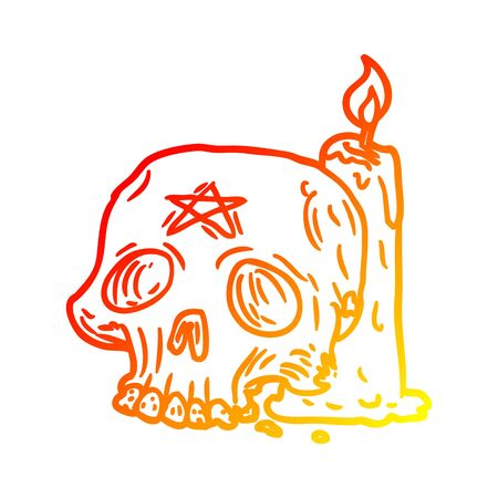 warm gradient line drawing of a spooky skull and candle 向量圖像