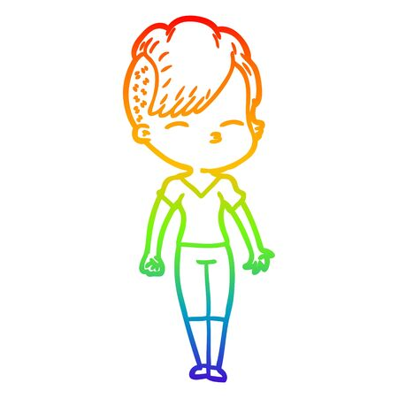rainbow gradient line drawing of a cartoon squinting girl 矢量图像