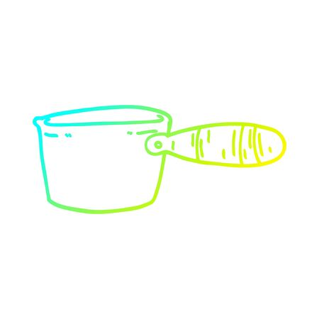 cold gradient line drawing of a cartoon cooking pan Foto de archivo - 130517343