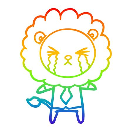rainbow gradient line drawing of a cartoon crying lion wearing shirt and tie Ilustração